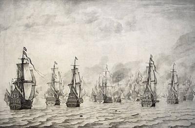 Enemies Photograph - The Battle Of Dunkirk, 1659, By Willem Van De Velde I1611-1693 by Bridgeman Images