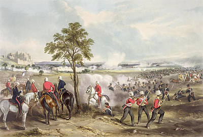 The Battle Of Goojerat On 21st February Print by Henry Martens