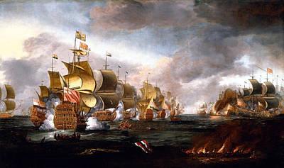 The Battle Of Lowestoft Print by Adriaen van Diest