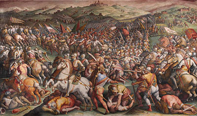 Giorgio Vasari Painting - The Battle Of Marciano In Val Di Chiana by Giorgio Vasari