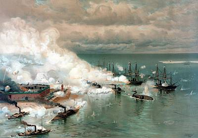 American Civil War Painting - The Battle Of Mobile Bay by War Is Hell Store