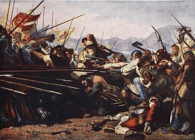 Medieval Drawing - The Battle Of Sempach, 1386 by Konrad Grob