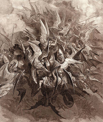 Dore Painting - The Battle Of The Angels by Gustave Dore