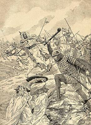 The Battle Of Tours Aka The Battle Of Poitiers, 732.   From Agenda Buvard Du Bon Marche Published Print by Bridgeman Images