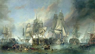 Trafalgar Painting - The Battle Of Trafalgar, 1805 by Clarkson RA Stanfield