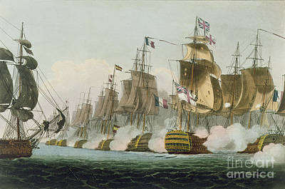 The Battle Of Trafalgar Print by Thomas Whitcombe