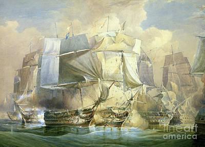 Trafalgar Painting - The Battle Of Trafalgar by William John Huggins