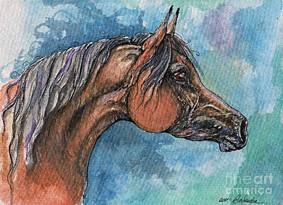 The Bay Arabian Horse 21 Print by Angel  Tarantella