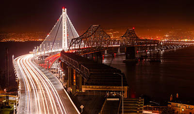 Light Photograph - The Bay Bridges by Alexis Birkill