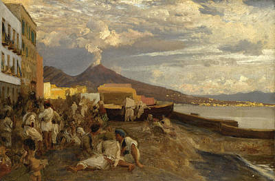 Oswald Achenbach Painting - The Bay Of Naples. Vesuvius Beyond by Oswald Achenbach