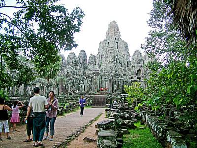 Angkor Digital Art - The Bayon In Angkor Thom In Angkor Wat Archeological Park-cambodia by Ruth Hager