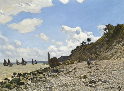The Beach At Honfleur Print by Claude Monet