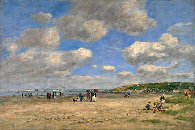 Eugene Boudin Painting - The Beach At Tourgeville-les-sablons by Eugene Boudin