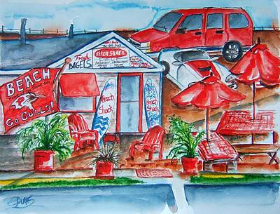 Local Restaurants Painting - The Beach Shack by Elaine Duras