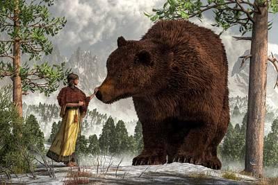 Daniel Digital Art - The Bear Woman by Daniel Eskridge