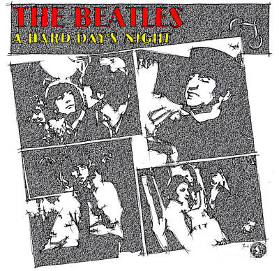 John Lennon Art Drawing - The Beatles - A Hard Day's Night by Pablo Franchi