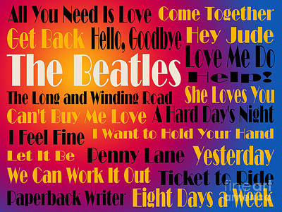 The Beatles 20 Classic Rock Songs 3 Print by Andee Design