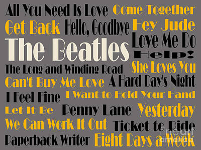 The Beatles 20 Classic Rock Songs 4 Print by Andee Design