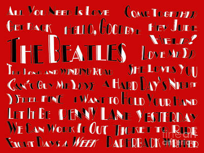 The Beatles 20 Classic Rock Songs Print by Andee Design