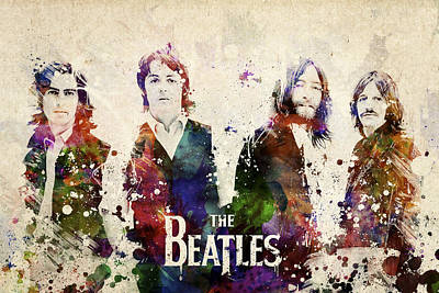 Beatles Digital Art - The Beatles by Aged Pixel