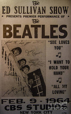 Lennon Photograph - The Beatles Ed Sullivan Show Poster by Mitch Shindelbower