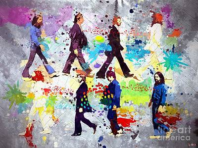 Abbey Road Painting - The Beatles Grunge by Daniel Janda