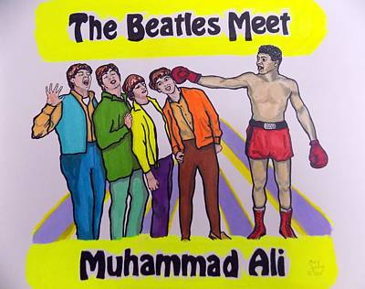 The Beatles Meet Muhammad Ali Print by Mary Sperling