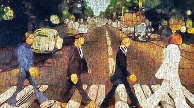 Beatles Mixed Media - The Beatles On Canvas by Dan Sproul