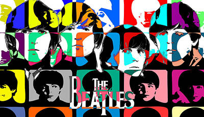 Beatles Photograph - The Beatles Retro by JC Photography and Art