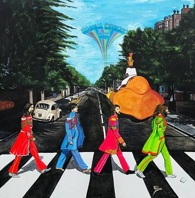 Beatles Mixed Media - The Beatles Sgt Peppers Walk On Abby Road by Edward Pebworth