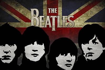 Beatles Digital Art - The Beatles Silhouettes by Aged Pixel