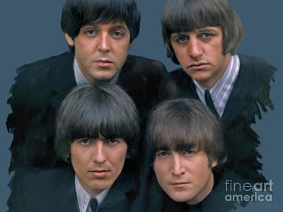Fab Four Digital Art - The Beatles by Stephen Shub