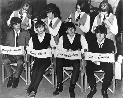 In A Row Photograph - The Beatles by Underwood Archives