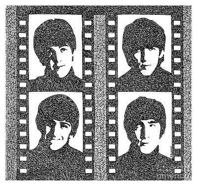 John Lennon Drawing - The Beatles Yeah Yeah Yeah by Pablo Franchi