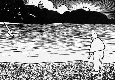 Seagull Drawing - The Beautiful Evening by Felix Edouard Vallotton
