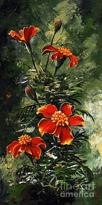 Marigolds Painting - The Beauty Flower #10 by Emerico Imre Toth