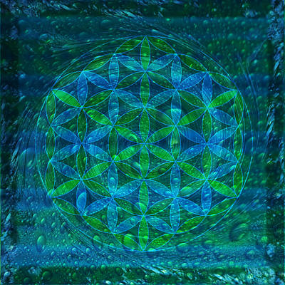 Merkaba Digital Art - The Begining - Water Flower Of Life Mandala by Iwona Sicinska