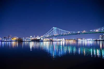 Phillies Digital Art - The Benjamin Franklin Bridge At Night by Bill Cannon