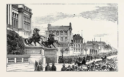 Berlin Drawing - The Berlin Congress,entrance To The Royal Castle by German School