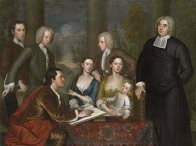 Ink Painting - The Bermuda Group, Dean Berkeley And His Entourage, 1728 by John Smibert