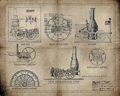 The Best Friend Locomotive Machine Print by James Christopher Hill