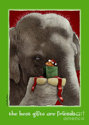 Christmas Greeting Painting - The Best Gifts Are Friends... by Will Bullas