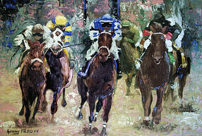 Race Horse Digital Art - The Bets Are On by Anthony Falbo