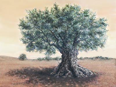 The Biblical Olive Tree Print by Miki Karni