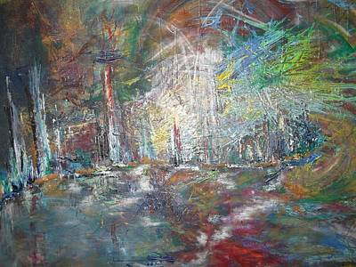 Fireworks Display Painting - The Big Show by Karen Lillard