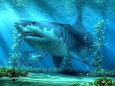 Reef Shark Digital Art - The Biggest Shark by Daniel Eskridge