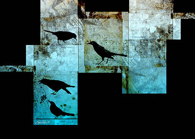 Crow Mixed Media - The Birds Abstract - Art by Ann Powell