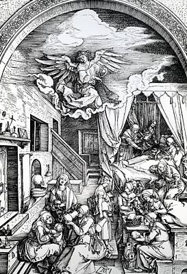 Baby Angel Drawing - The Birth Of The Virgin, From The Cycle Of The Life Of The Virgin, 1511 by Albrecht Durer or Duerer