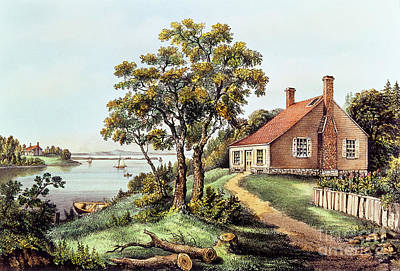The Birthplace Of Washington At Bridges Creek Print by Currier and Ives