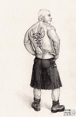 Black Boots Drawing - The Black Silk Kilt by Mon Graffito